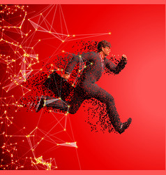 Running businessman with case made scattered vector