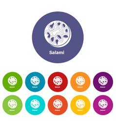 salami icons set color vector image