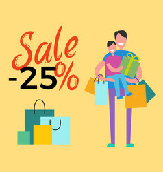 Sale -25 daddy and son on vector