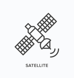 satellite flat line icon outline vector image