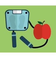Scale rope and apple of fitness concept vector