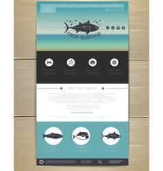 Seafood concept Web site design vector