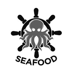 Seafood logo with helm and octopus isolated on vector