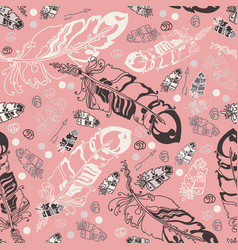 seamless pattern with feathers and beads on ros vector image