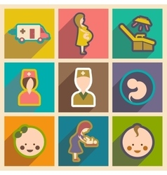 Set flat icons with long shadow Pregnancy and vector