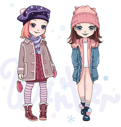 Set girls in winter clothes vector