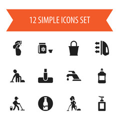 set of 12 editable hygiene icons includes symbols vector image