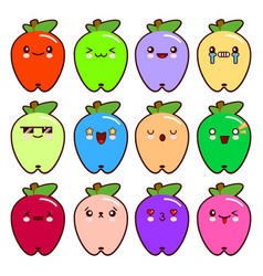 set of 12 modern emoticons cute cartoon apple with vector image