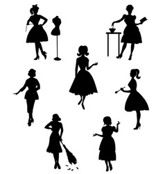 silhouettes of housewives-1 vector image