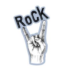 sketched rock sign gesture vector image