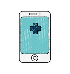 Smartphone with medical app isolated icon vector