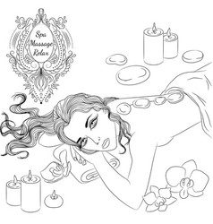 Stone massage line art vector