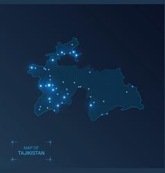 Tajikistan map with cities luminous dots - neon vector