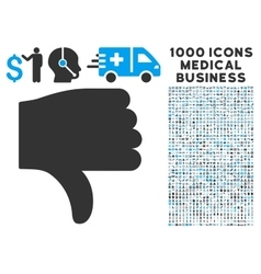 Thumb Down Icon with 1000 Medical Business vector image