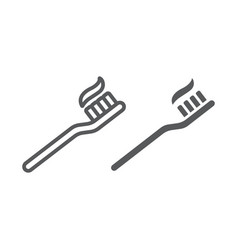 toothbrush line and glyph icon stomatology vector image