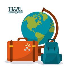 Travel around world globe map backpack vector