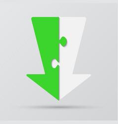 two piece puzzle arrow down arrow puzzle vector image