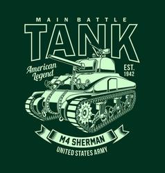 vintage american m4 sherman tank vector image