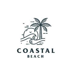 vintage coastal beach logo design vector image