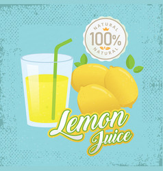 vintage fresh lemon juice vector image
