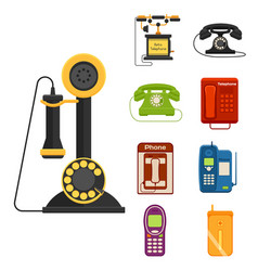 Vintage phones retro lod telephone call vector