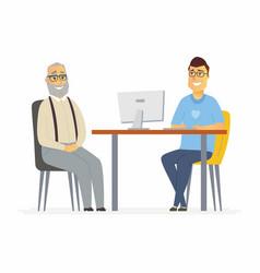 volunteer help senior man - cartoon people vector image