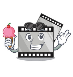 With ice cream film stirep in characater shape vector