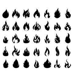Fire icons set silhouette vector image