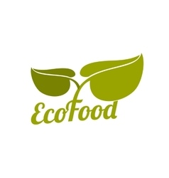 Green eco food logo with leaves vector image