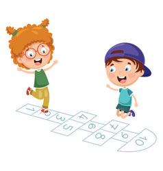 kids playing hopscotch vector image