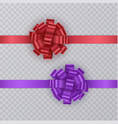 set of gift ribbons with realistic bow of red and vector image