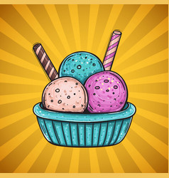 three color ice cream with different flavors with vector image