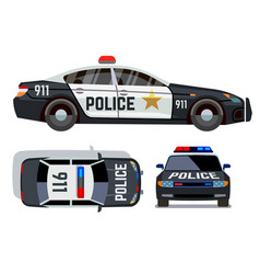 flat-style cars in different views police vector image vector image