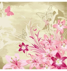 floral watercolor background with lilies vector image vector image