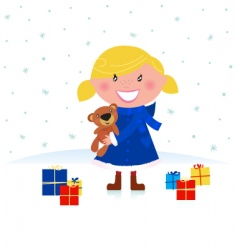 happy Christmas girl and gifts vector image vector image
