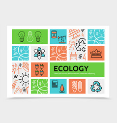 linear ecology infographic template vector image vector image