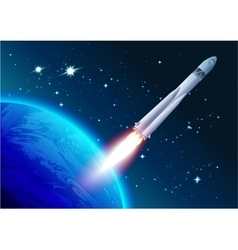 Rocket in space Cosmonautics Day Spacecraft vector image