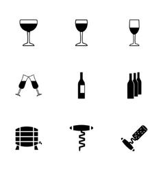 wine icon set vector image vector image