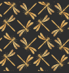 golden textured dragonfly seamless pattern vector image vector image