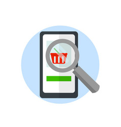 Magnifier over a smartphone search for goods on vector