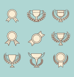 retro winner cups and victory prizes vector image