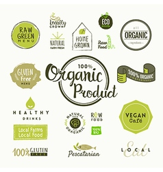 Set of organic food labels and design elements vector image vector image