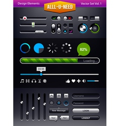 set of user interface elements vector image vector image