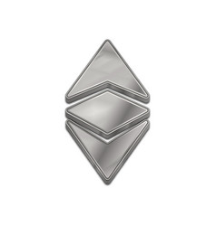 Silver ethereum classic 3d style icon vector