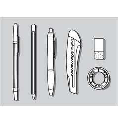 Stationary items vector image vector image