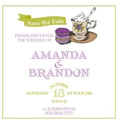 Wedding Vintage Invitation Card - Macaroon and Tea vector image vector image