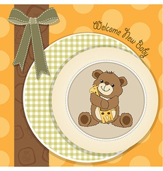 baby shower card with teddy bear and his toy vector image vector image