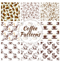 Coffee cup seamless pattern background set vector image vector image