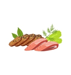 Meat and fish set of pizza ingredients vector