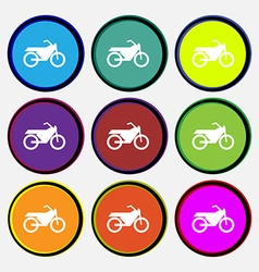 Motorbike icon sign Nine multi colored round vector image